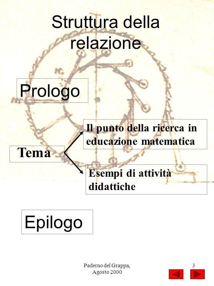 Paderno del Grappa, Agosto 2000 3 Prologo Tema Il punto della ricerca in educazione matematica Esempi di attività didattiche Epilogo Struttura della r