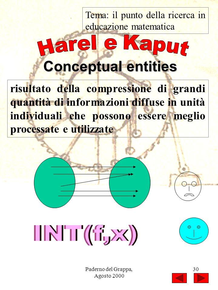 Paderno del Grappa, Agosto 2000 30 Tema: il punto della ricerca in educazione matematica Conceptual entities risultato della compressione di grandi qu