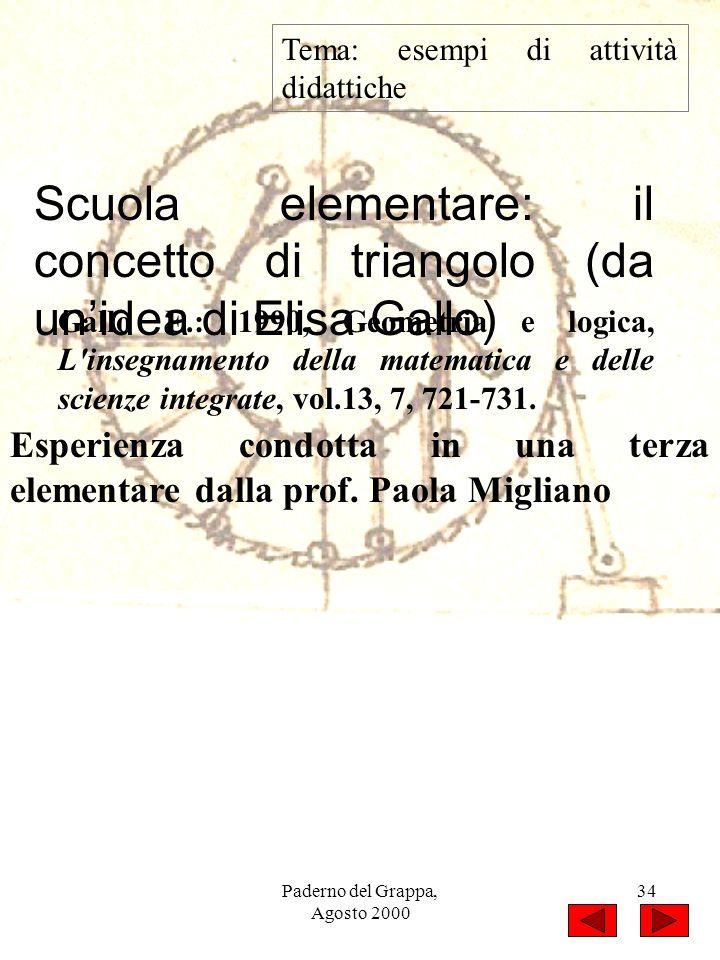 Paderno del Grappa, Agosto 2000 34 Tema: esempi di attività didattiche Scuola elementare: il concetto di triangolo (da unidea di Elisa Gallo) Gallo E.