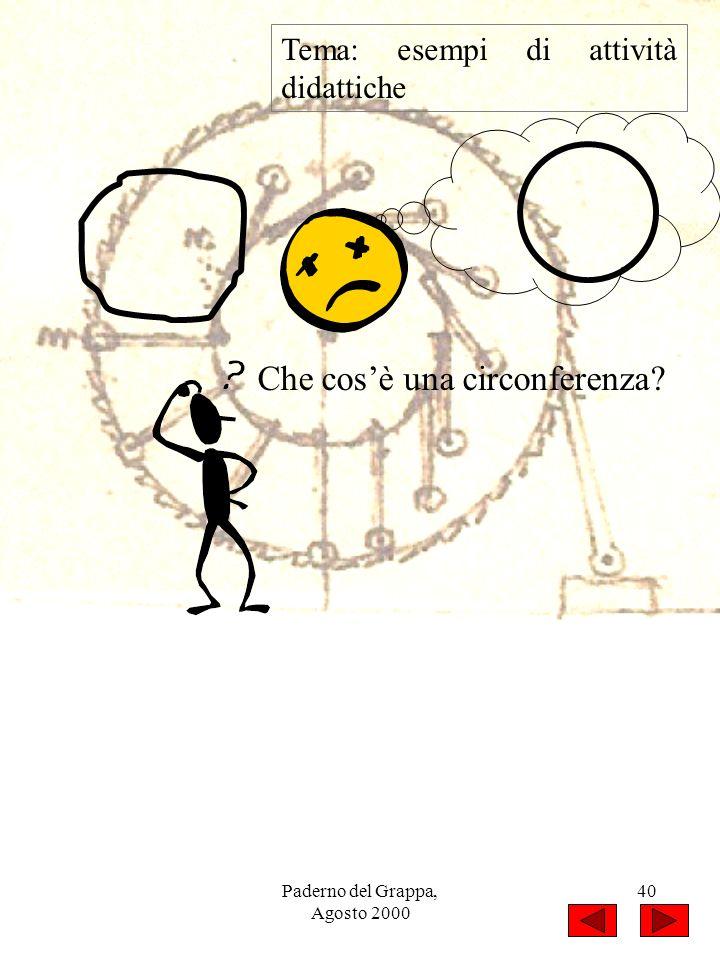 Paderno del Grappa, Agosto 2000 40 Tema: esempi di attività didattiche Che cosè una circonferenza?