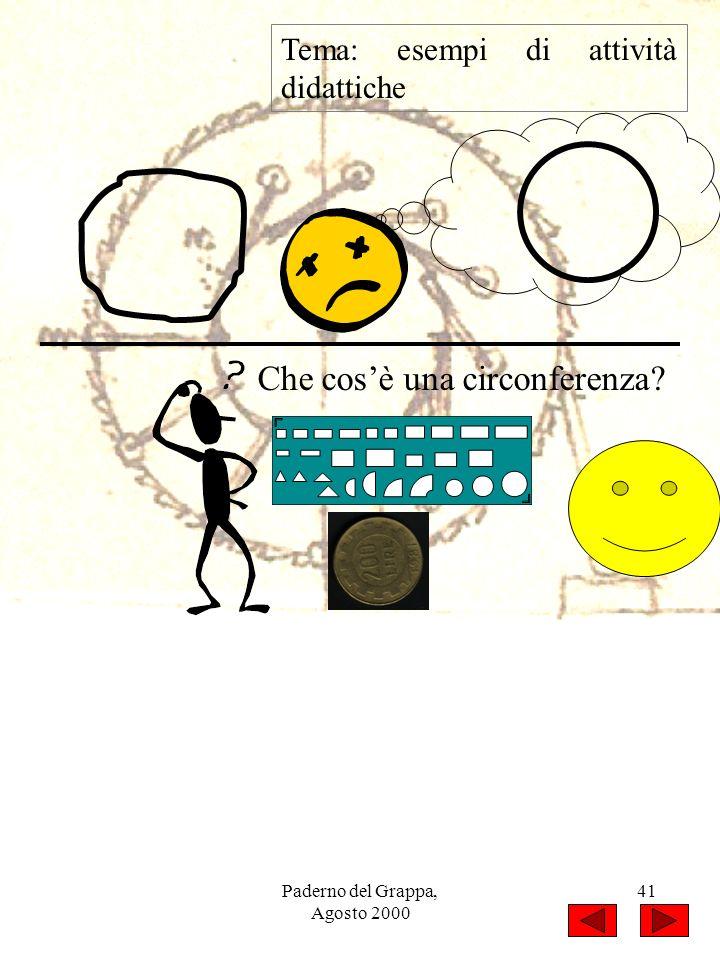 Paderno del Grappa, Agosto 2000 41 Tema: esempi di attività didattiche Che cosè una circonferenza?
