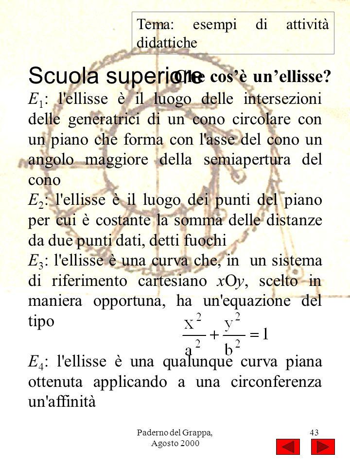 Paderno del Grappa, Agosto 2000 43 Tema: esempi di attività didattiche Che cosè unellisse? E 1 : l'ellisse è il luogo delle intersezioni delle generat
