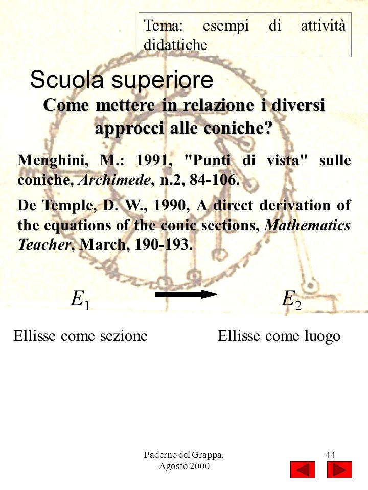 Paderno del Grappa, Agosto 2000 44 Tema: esempi di attività didattiche Menghini, M.: 1991,