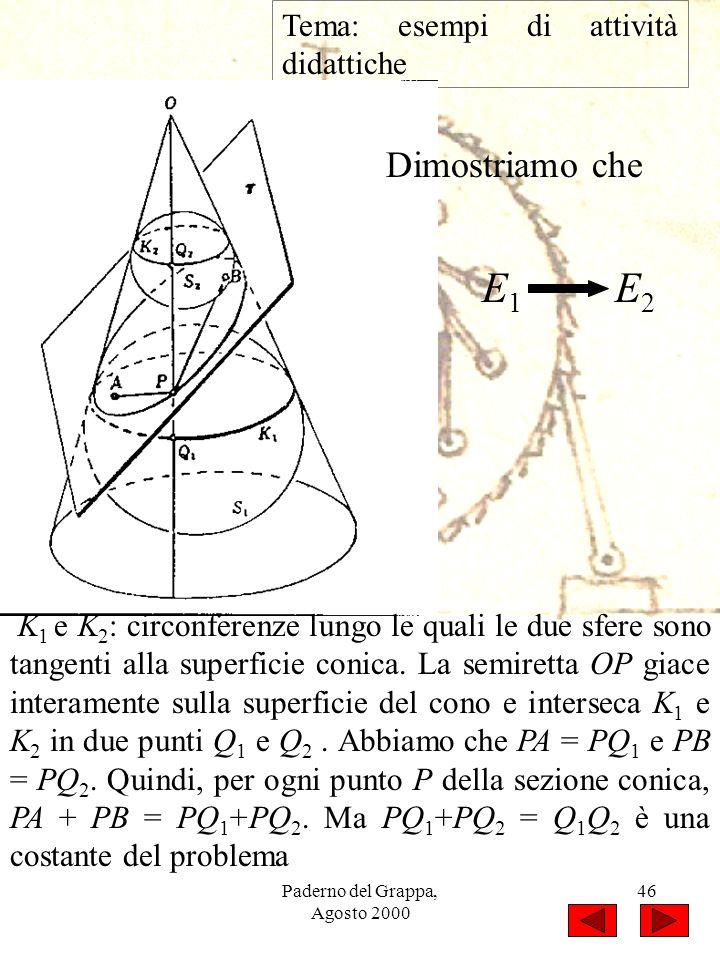 Paderno del Grappa, Agosto 2000 46 Tema: esempi di attività didattiche K 1 e K 2 : circonferenze lungo le quali le due sfere sono tangenti alla superf