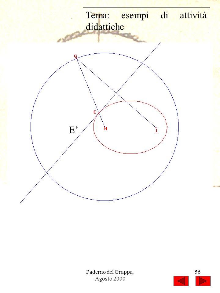 Paderno del Grappa, Agosto 2000 56 Tema: esempi di attività didattiche E