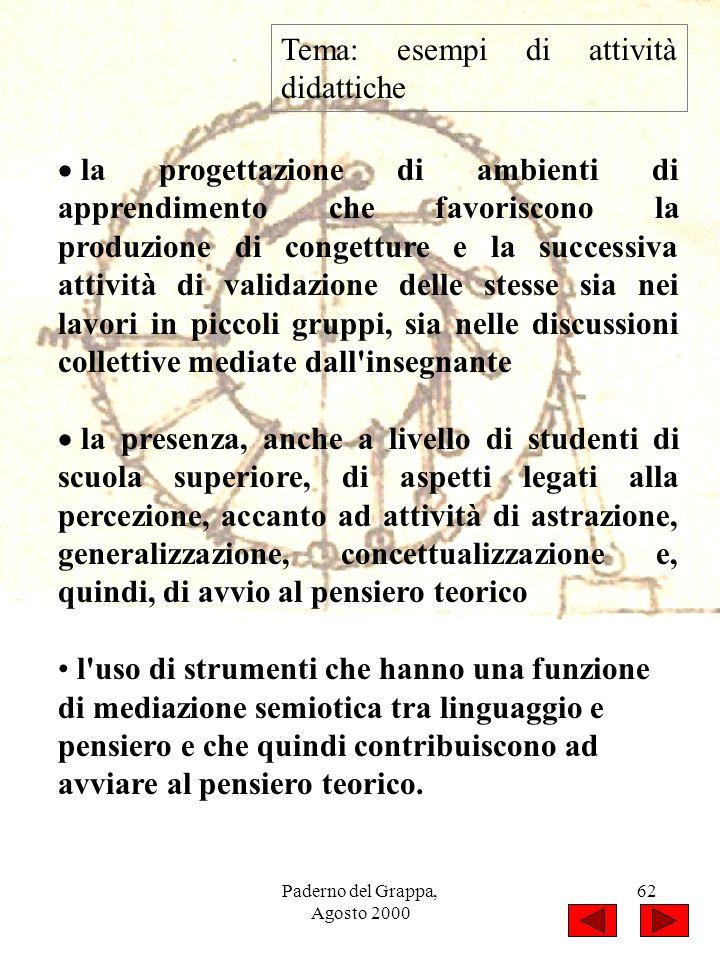 Paderno del Grappa, Agosto 2000 62 Tema: esempi di attività didattiche la progettazione di ambienti di apprendimento che favoriscono la produzione di