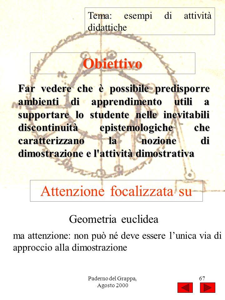 Paderno del Grappa, Agosto 2000 67 Tema: esempi di attività didattiche Obiettivo Far vedere che è possibile predisporre ambienti di apprendimento util