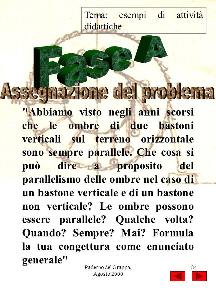 Paderno del Grappa, Agosto 2000 84 Tema: esempi di attività didattiche