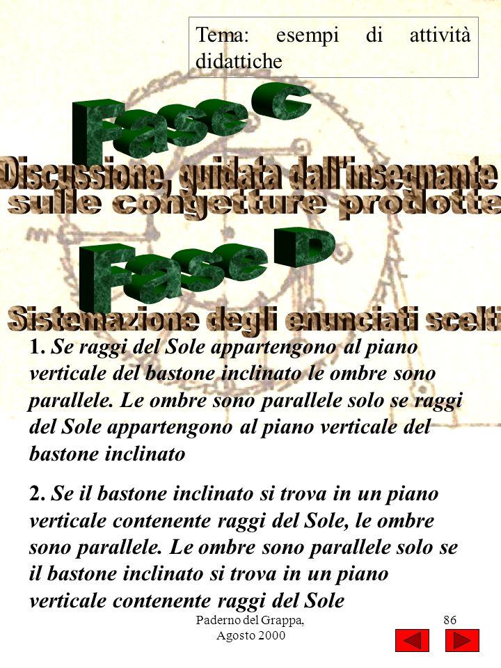 Paderno del Grappa, Agosto 2000 86 Tema: esempi di attività didattiche 1. Se raggi del Sole appartengono al piano verticale del bastone inclinato le o
