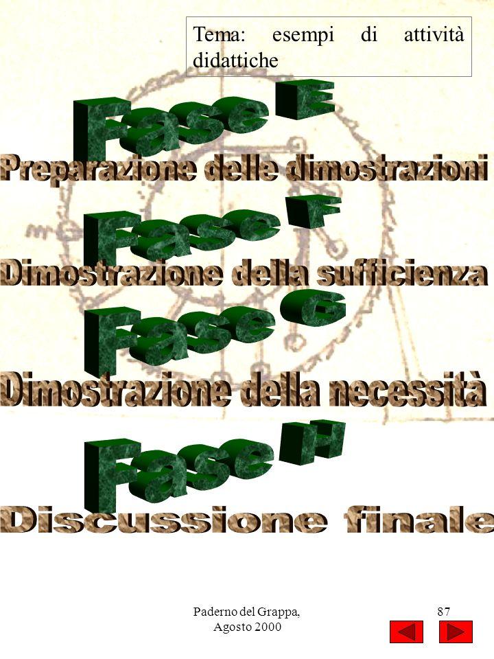 Paderno del Grappa, Agosto 2000 87 Tema: esempi di attività didattiche