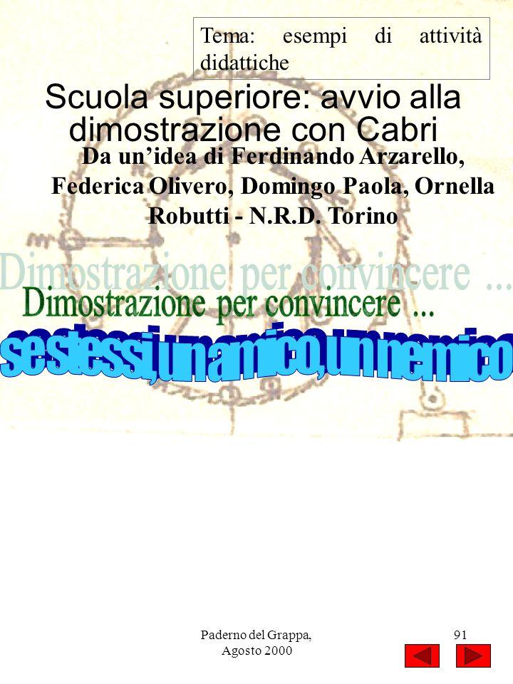 Paderno del Grappa, Agosto 2000 91 Tema: esempi di attività didattiche Scuola superiore: avvio alla dimostrazione con Cabri Da unidea di Ferdinando Ar