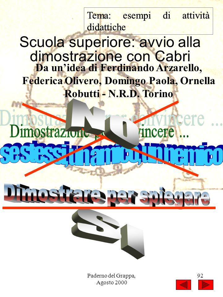 Paderno del Grappa, Agosto 2000 92 Tema: esempi di attività didattiche Scuola superiore: avvio alla dimostrazione con Cabri Da unidea di Ferdinando Ar