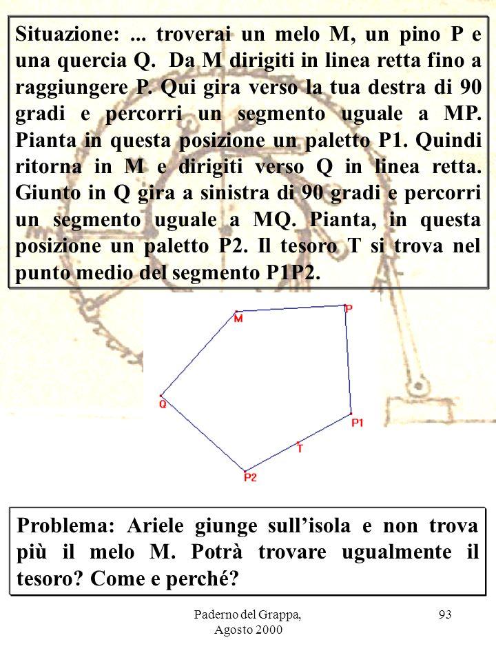 Paderno del Grappa, Agosto 2000 93 Situazione:... troverai un melo M, un pino P e una quercia Q. Da M dirigiti in linea retta fino a raggiungere P. Qu