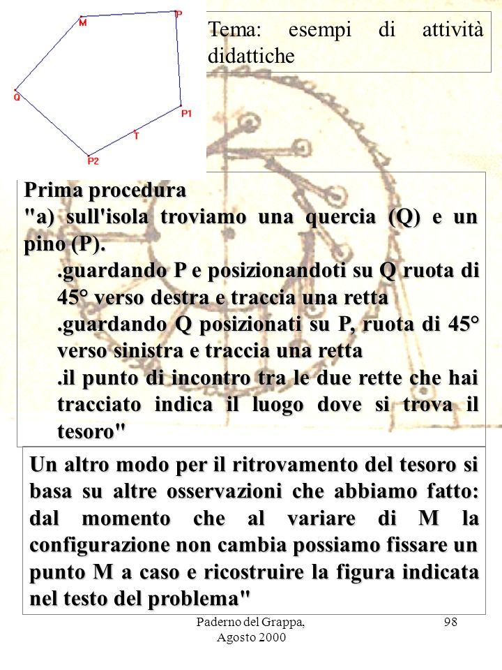Paderno del Grappa, Agosto 2000 98 Prima procedura