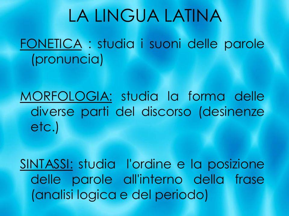 FONETICA : studia i suoni delle parole (pronuncia) MORFOLOGIA: studia la forma delle diverse parti del discorso (desinenze etc.) SINTASSI: studia l'or