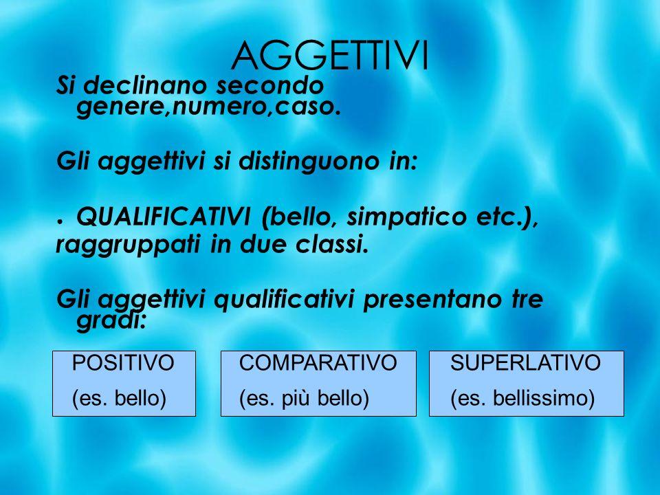 AGGETTIVI Si declinano secondo genere,numero,caso. Gli aggettivi si distinguono in: QUALIFICATIVI (bello, simpatico etc.), raggruppati in due classi.