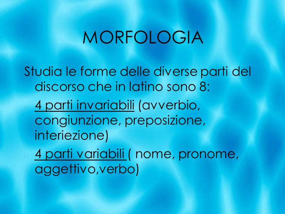 MORFOLOGIA Studia le forme delle diverse parti del discorso che in latino sono 8: 4 parti invariabili (avverbio, congiunzione, preposizione, interiezi