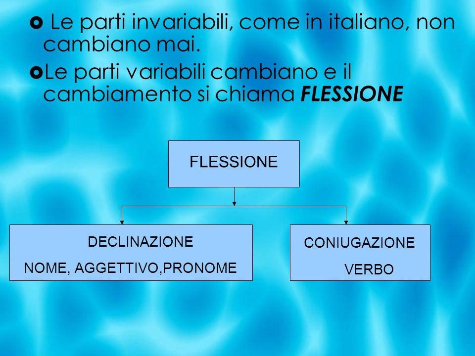 Le parti invariabili, come in italiano, non cambiano mai. Le parti variabili cambiano e il cambiamento si chiama FLESSIONE FLESSIONE DECLINAZIONE NOME