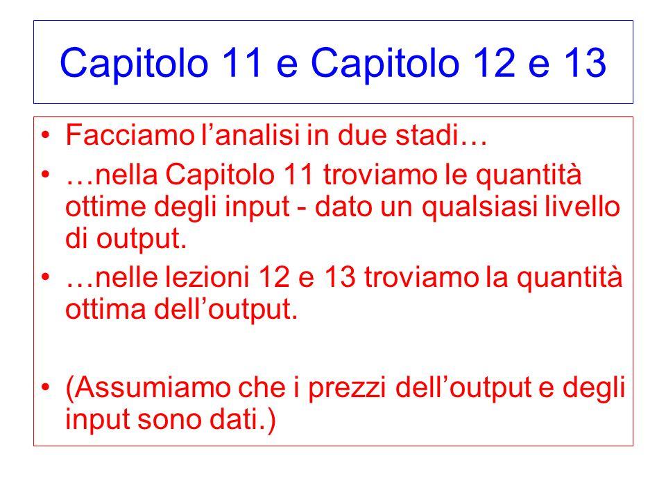 Capitolo 11 e Capitolo 12 e 13 Facciamo lanalisi in due stadi… …nella Capitolo 11 troviamo le quantità ottime degli input - dato un qualsiasi livello di output.