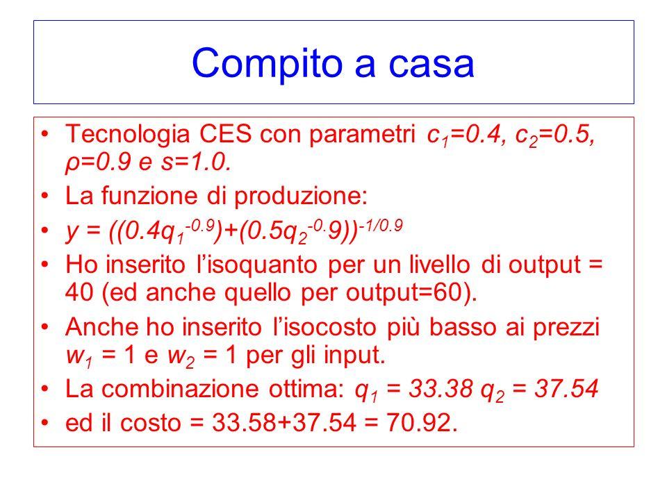 Compito a casa Tecnologia CES con parametri c 1 =0.4, c 2 =0.5, ρ=0.9 e s=1.0.
