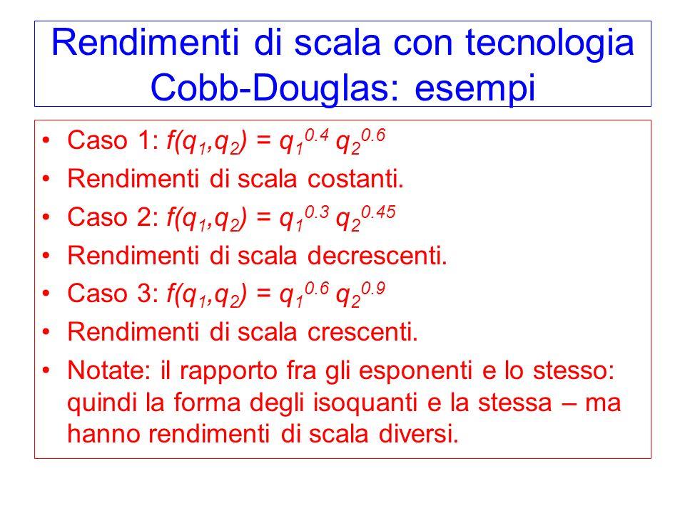 Rendimenti di scala con tecnologia Cobb-Douglas: esempi Caso 1: f(q 1,q 2 ) = q 1 0.4 q 2 0.6 Rendimenti di scala costanti.