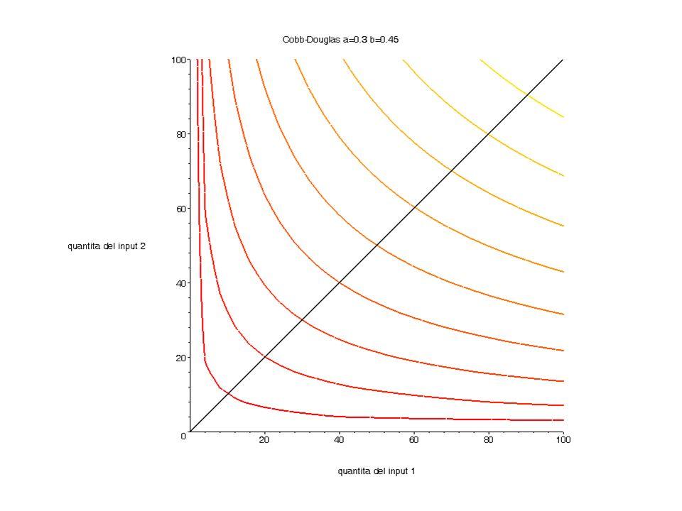 Che dovete fare Trovare la combinazione ottima (graficamente o….) e il costo per produrre loutput per questi valori: w 1 = 2 w 2 = 1 y=40 w 1 = 3 w 2 = 1 y=40 w 1 = 1 w 2 = 1 y=60 w 1 = 2 w 2 = 1 y=60 w 1 = 3 w 2 = 1 y=60 Mettete i risultati in una tabella.