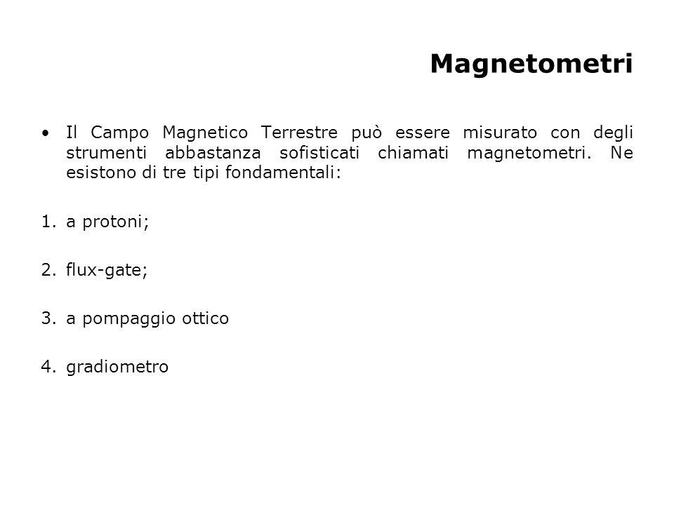 Magnetometri Il Campo Magnetico Terrestre può essere misurato con degli strumenti abbastanza sofisticati chiamati magnetometri. Ne esistono di tre tip