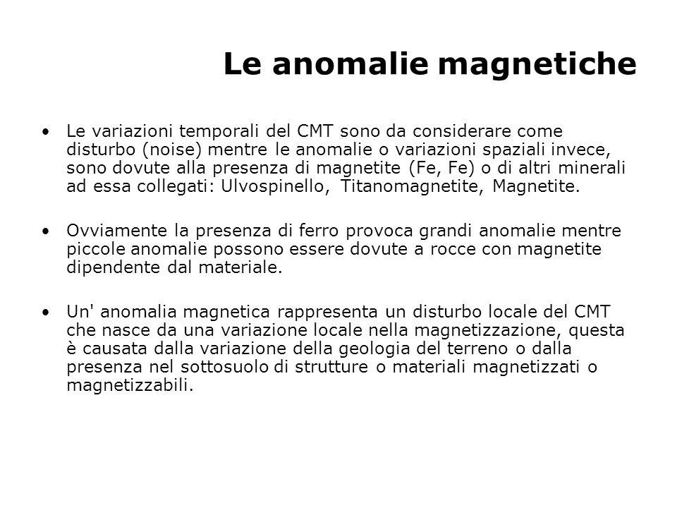 Le anomalie magnetiche Le variazioni temporali del CMT sono da considerare come disturbo (noise) mentre le anomalie o variazioni spaziali invece, sono