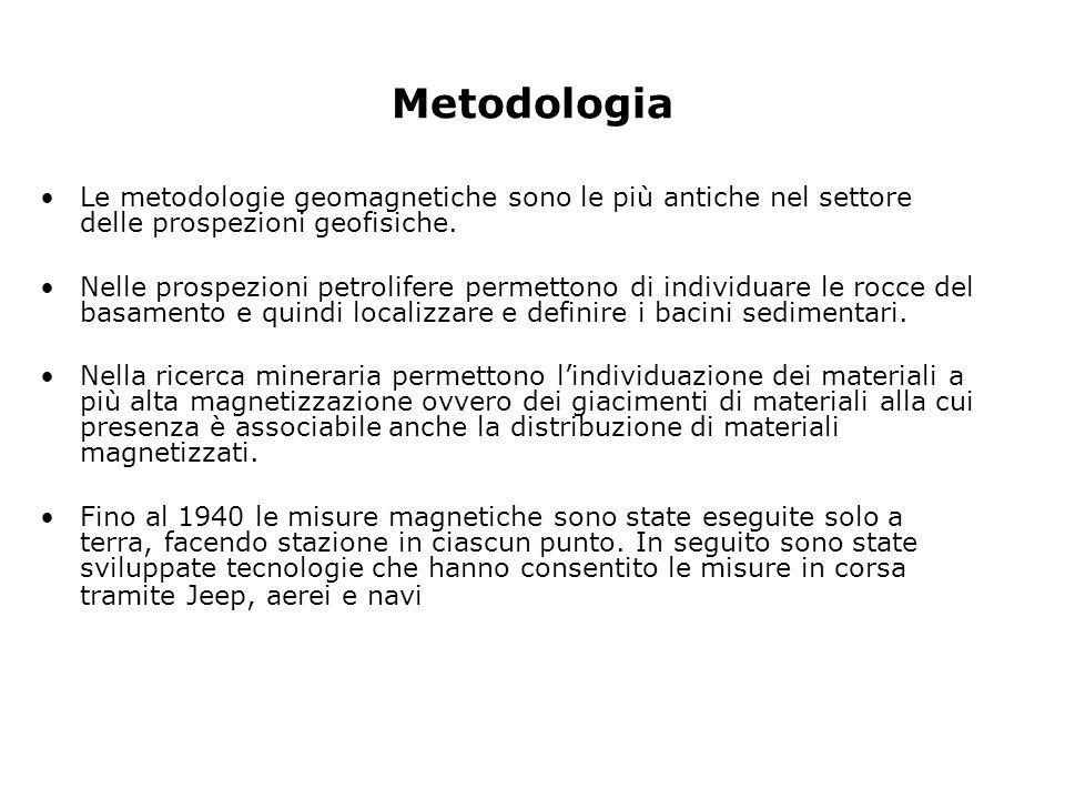 Metodologia Le metodologie geomagnetiche sono le più antiche nel settore delle prospezioni geofisiche. Nelle prospezioni petrolifere permettono di ind