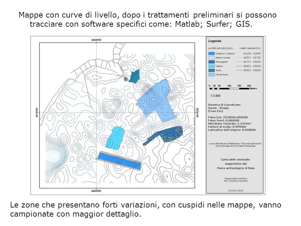 Mappe con curve di livello, dopo i trattamenti preliminari si possono tracciare con software specifici come: Matlab; Surfer; GIS. Le zone che presenta