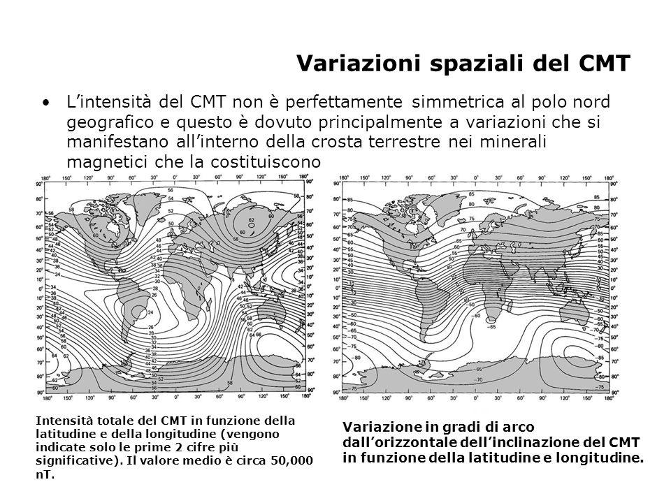 Variazioni spaziali del CMT Lintensità del CMT non è perfettamente simmetrica al polo nord geografico e questo è dovuto principalmente a variazioni ch
