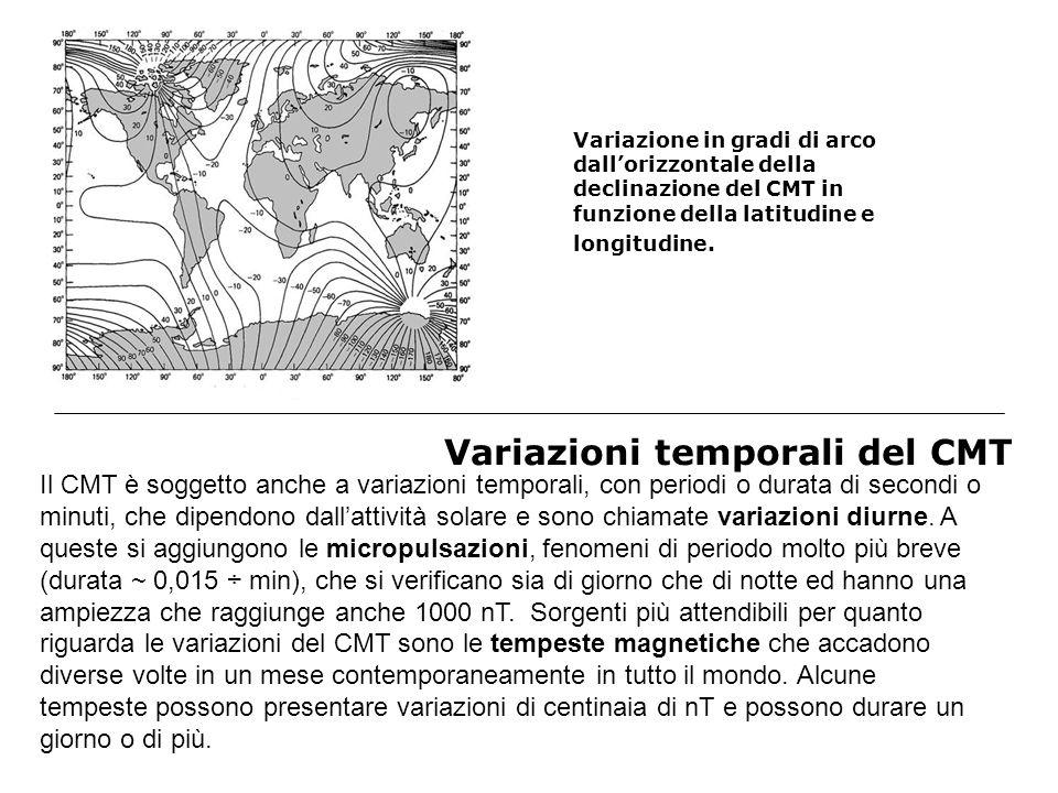 Variazioni temporali del CMT VARIAZIONITIPOPERIODO AMPIEZZA (nT) CAUSA Regolari Diurna lunare 24 ore e 50 minutitra 2 e 10Correnti elettriche ionosferiche diurna solare 24 oretra 10 e 200Correnti elettriche ionosferiche solare ciclica circa 11 annicirca 10Attività solare Intermedie pulsazioni Tra 1 secondo e 15 minuti tra 0.05 e 500Interazione tra particelle e magnetosfera Irregolari baieaperiodichetra 10 e 300precipitazione di particelle solari tempesteaperiodichetra 50 e 500correnti elettriche nella magnetosfera inversioniaperiodiche (tra 6 e 12) * 10^4 instabilità elettrica nel nucleo esterno fluido della terra