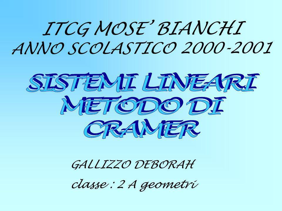 ITCG MOSE BIANCHI ANNO SCOLASTICO 2000-2001 GALLIZZO DEBORAH classe : 2 A geometri