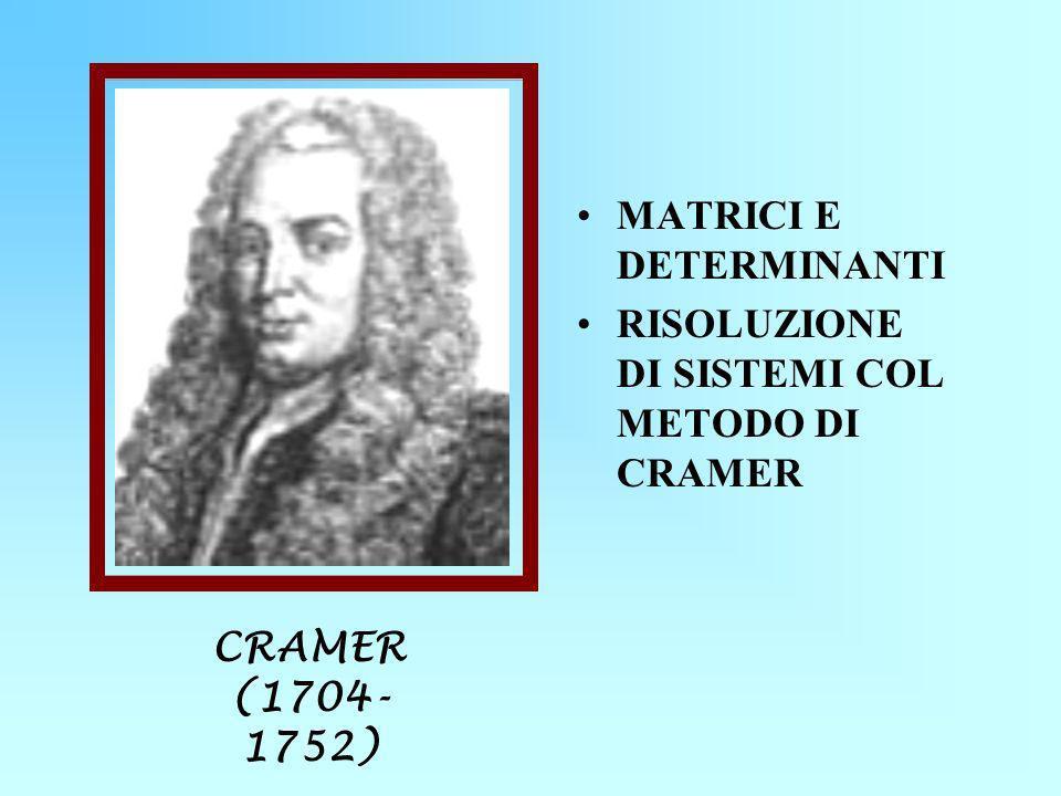 MATRICI E DETERMINANTI RISOLUZIONE DI SISTEMI COL METODO DI CRAMER CRAMER (1704- 1752)