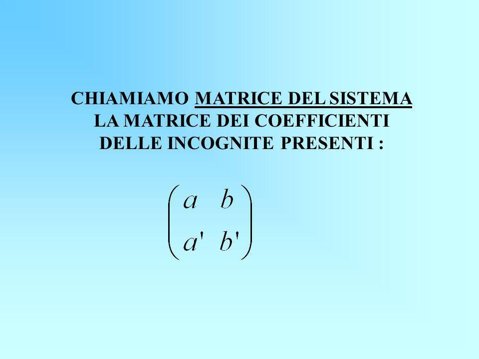 CHIAMIAMO MATRICE DEL SISTEMA LA MATRICE DEI COEFFICIENTI DELLE INCOGNITE PRESENTI :