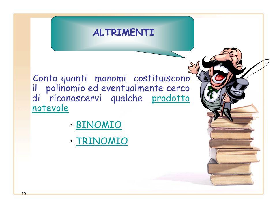 10 Conto quanti monomi costituiscono il polinomio ed eventualmente cerco di riconoscervi qualche prodotto notevole BINOMIO TRINOMIO ALTRIMENTI