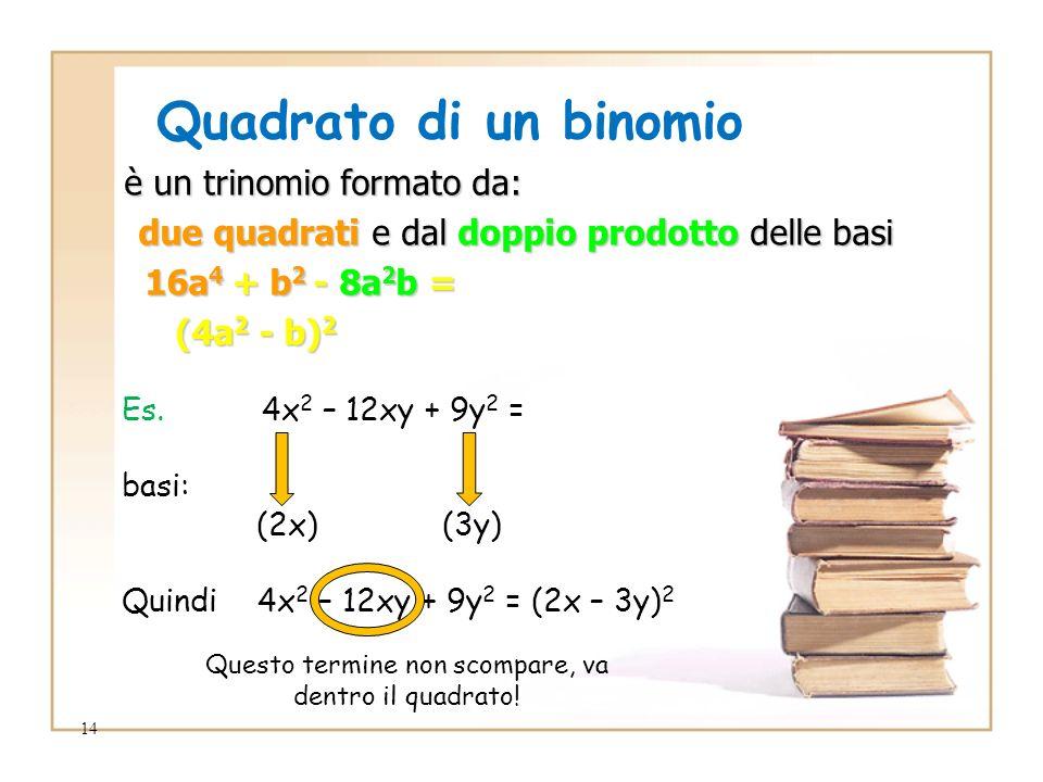 14 Quadrato di un binomio è un trinomio formato da: è un trinomio formato da: due quadrati e dal doppio prodotto delle basi due quadrati e dal doppio prodotto delle basi 16a 4 + b 2 - 8a 2 b = 16a 4 + b 2 - 8a 2 b = (4a 2 - b) 2 (4a 2 - b) 2 Es.