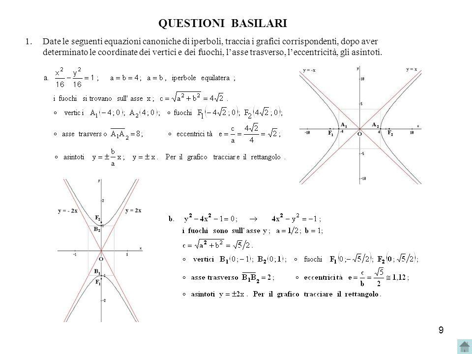 10 2.Dato il fascio di curve di equazione: kx 2 + (2 - 3k )y 2 = 1, con k R - {0 ; 2/3}, determinare per quali valori di k lequazione rappresenta: a) unellisse ; b) una circonferenza ; c) uniperbole con i fuochi sullasse x ; d) uniperbole con i fuochi sullasse y ; e) uniperbole equilatera.