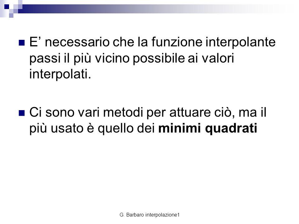 G. Barbaro interpolazione1 E necessario che la funzione interpolante passi il più vicino possibile ai valori interpolati. Ci sono vari metodi per attu