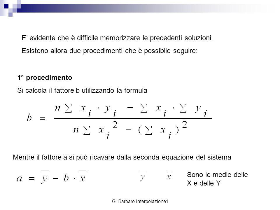 G. Barbaro interpolazione1 E evidente che è difficile memorizzare le precedenti soluzioni. Esistono allora due procedimenti che è possibile seguire: 1