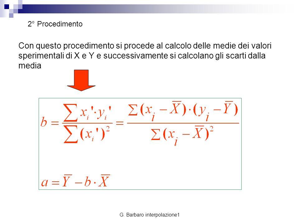 G. Barbaro interpolazione1 2° Procedimento Con questo procedimento si procede al calcolo delle medie dei valori sperimentali di X e Y e successivament