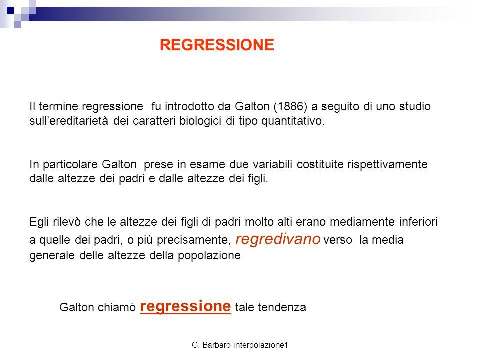 G. Barbaro interpolazione1 Il termine regressione fu introdotto da Galton (1886) a seguito di uno studio sullereditarietà dei caratteri biologici di t