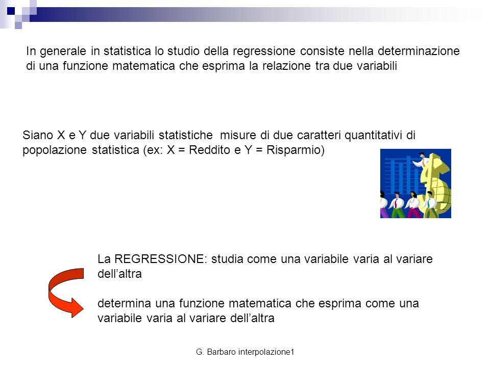 G. Barbaro interpolazione1 In generale in statistica lo studio della regressione consiste nella determinazione di una funzione matematica che esprima