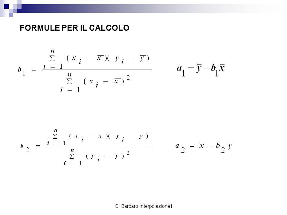 G. Barbaro interpolazione1 FORMULE PER IL CALCOLO