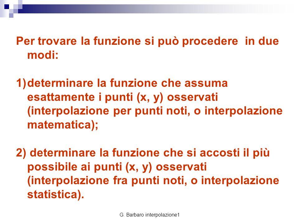 G. Barbaro interpolazione1 Per trovare la funzione si può procedere in due modi: 1)determinare la funzione che assuma esattamente i punti (x, y) osser