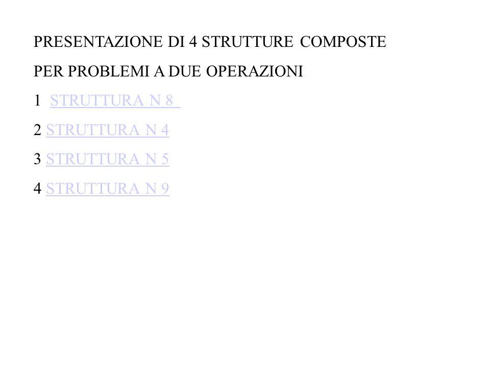 PRESENTAZIONE DI 4 STRUTTURE COMPOSTE PER PROBLEMI A DUE OPERAZIONI 1 STRUTTURA N 8STRUTTURA N 8 2 STRUTTURA N 4STRUTTURA N 4 3 STRUTTURA N 5STRUTTURA