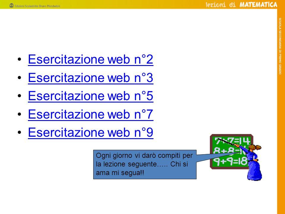 Esercitazione web n°2 Esercitazione web n°3 Esercitazione web n°5 Esercitazione web n°7 Esercitazione web n°9 Ogni giorno vi darò compiti per la lezio