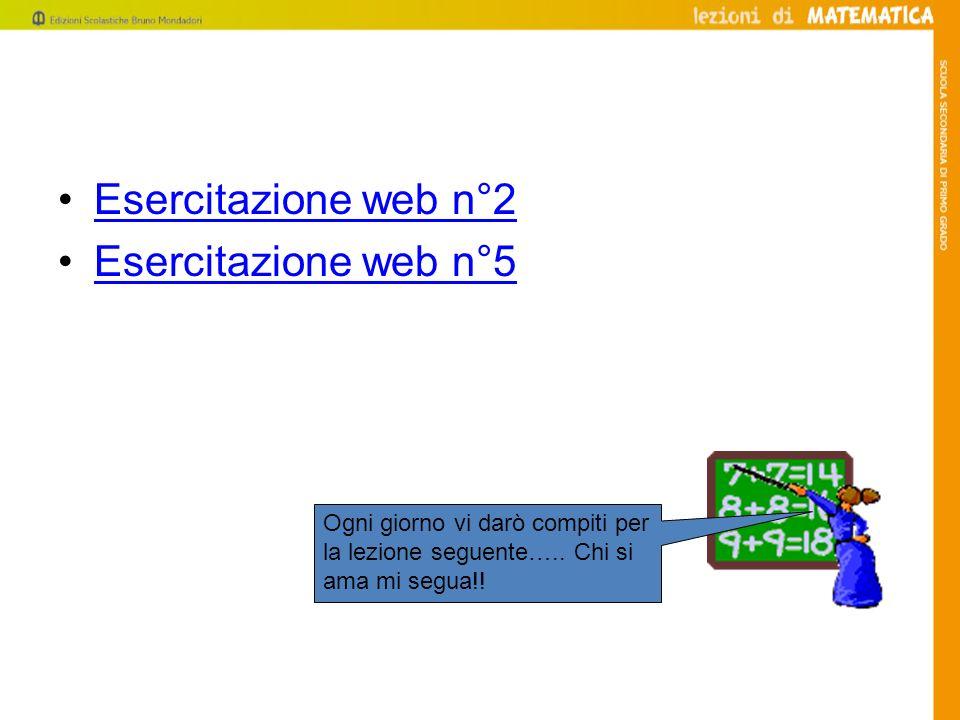 Esercitazione web n°2 Esercitazione web n°5 Ogni giorno vi darò compiti per la lezione seguente….. Chi si ama mi segua!!