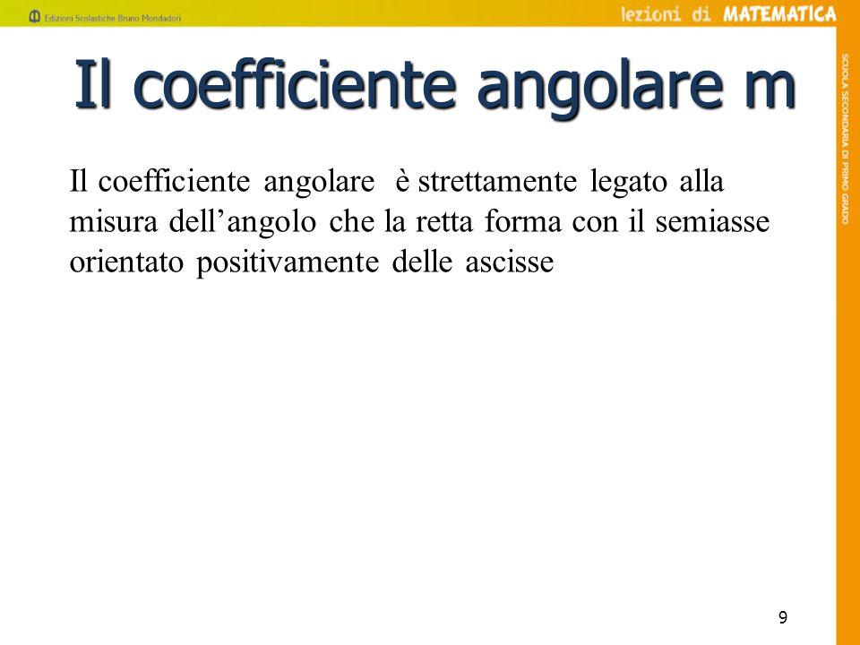 9 Il coefficiente angolare m Il coefficiente angolare è strettamente legato alla misura dellangolo che la retta forma con il semiasse orientato positi