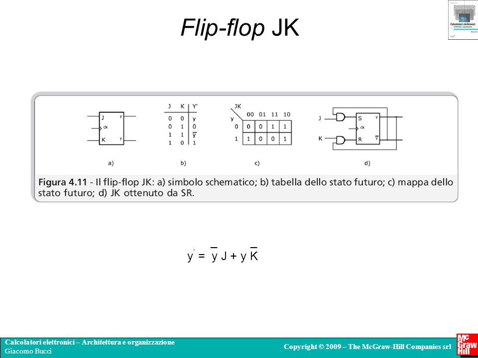 Calcolatori elettronici – Architettura e organizzazione Giacomo Bucci Copyright © 2009 – The McGraw-Hill Companies srl Flip-flop JK _ _ y = y J + y K